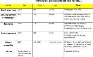 Planning ateliers
